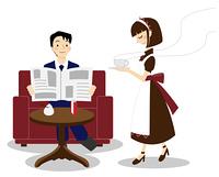 ウェイトレスと新聞を読む男性