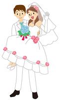 お姫様抱っこをする新郎と手を上げる新婦
