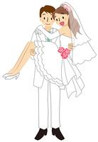 お姫様抱っこをする新郎と新婦