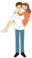 お姫様抱っこをする男性と女性