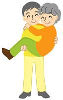 お姫様抱っこをするシニア夫婦