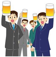 ビールを掲げる男性会社員4人