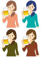 ビールを持つ女性 春夏秋冬の4パターンセット