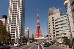 国道1号線と東京タワー