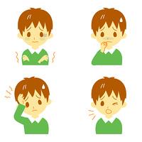病気の兆候01 悪寒、吐き気、頭痛、咳 男の子