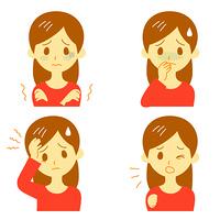 病気の兆候01 悪寒、吐き気、頭痛、咳 女性