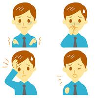病気の兆候01 悪寒、吐き気、頭痛、咳 男性
