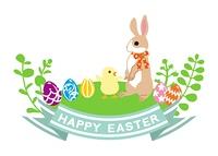 ウサギとヒヨコ イースター クリップアート