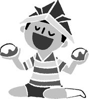 柏餅を食べる端午の節句の男子(白黒)