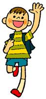 手を振りながら走るランドセルの男子(カラー)
