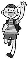 手を振りながら走るランドセルの男子(白黒)