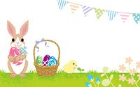 イースター テンプレート ウサギとヒヨコ