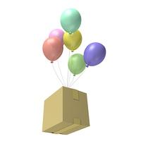 風船と荷物