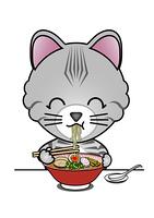 ラーメンを食べる猫