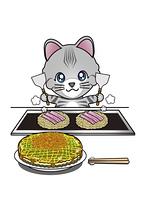 お好み焼きを焼く猫