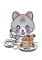 パンケーキを食べる猫