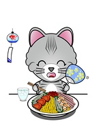 冷やし中華を食べる猫