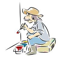 絵を描こうとしている初老の男性