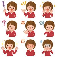 女の子の表 情セット