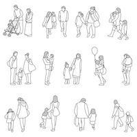 親子のポーズ線画