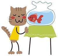 仲良しな金魚と猫