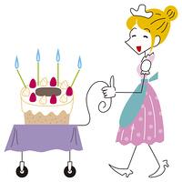 ケーキを運ぶウェイトレス