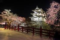 弘前公園下乗橋から眺める天守閣と夜桜
