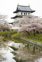 桜の北海道松前城とお堀