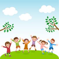 自然の中でジャンプする供たち