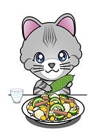 ゴーヤチャンプルーを食べる猫