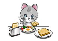 トーストを食べる猫