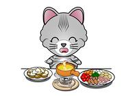 チーズフォンデュを食べる猫