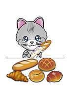 パンを買う猫