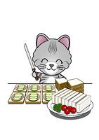 サンドイッチを作る猫
