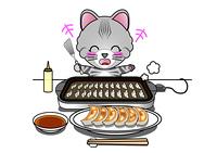 餃子を焼く猫