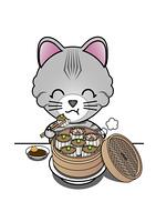 シュウマイを食べる猫
