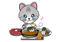 すき焼きを食べる猫