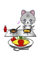 オムライスを作る猫