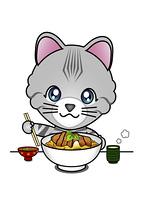 かつ丼を食べる猫