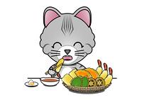 天麩羅を食べる猫