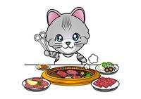 焼肉を食べる猫