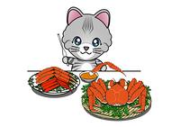 カニを食べる猫