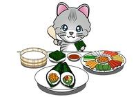 手巻き寿司を食べる猫