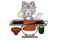 うな丼を食べる猫