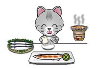 秋刀魚を食べる猫