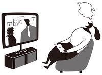 テレビを観ながら寝る女性