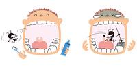 歯磨きする男の子と虫歯になる男の子