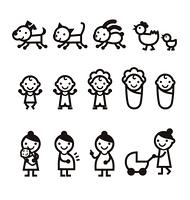 妊婦さん、ママ、赤ちゃん、ペットのアイコン