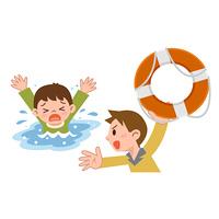 溺れる子供と救助する男性