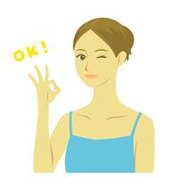 美容 女性 上半身 OKサイン